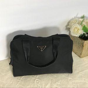 100% Auth PRADA Black Nylon Shoulder Bag Purse EUC